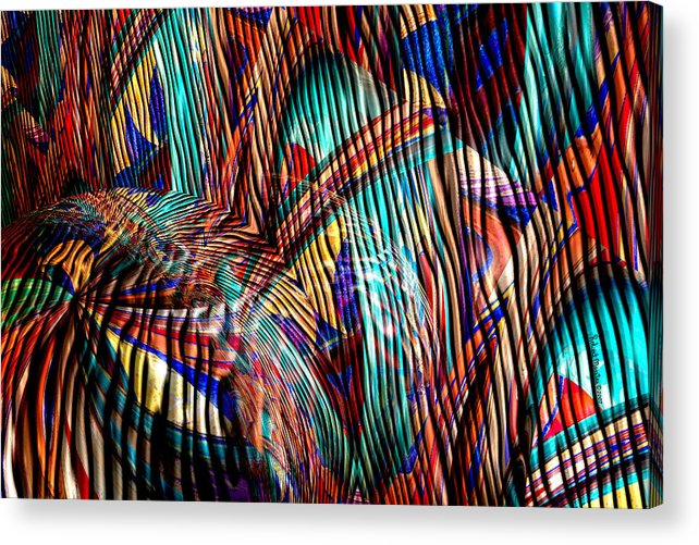 Abstract Acrylic Print featuring the painting Iguana In The Rough by Robert Maestas