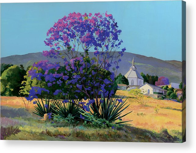 Acrylics Acrylic Print featuring the painting Jacaranda Holy Ghost Church In Kula Maui Hawaii by Don Jusko