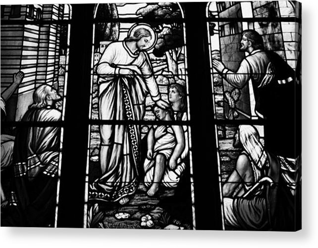 Stick On Stained Glass.Jesus Healing The Stick Stained Glass Window In Holy Rosary Cathedral Vancouver Bc Canada Acrylic Print