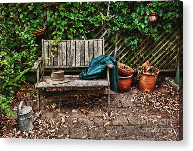 Wooden Bench Acrylic Print featuring the photograph Old Wooden Garden Bench by Sheila Smart Fine Art Photography