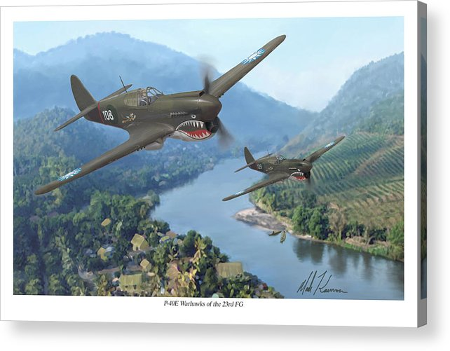 Airplanes Acrylic Print featuring the painting P-40 Warhawks Of The 23rd Fg by Mark Karvon