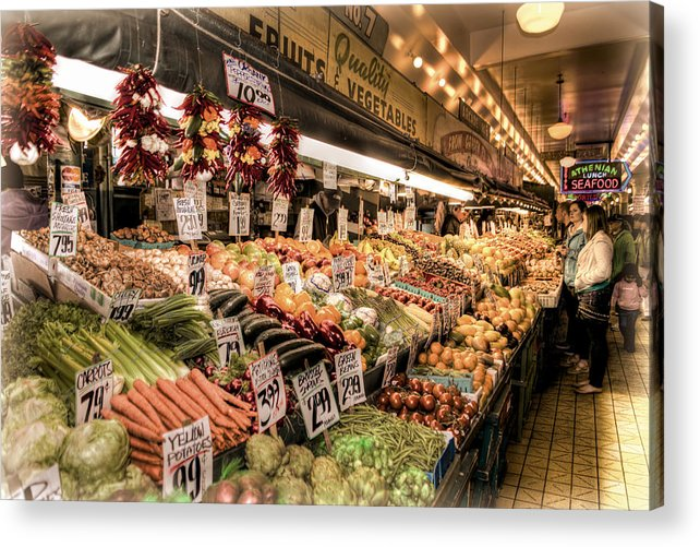 Seattle Acrylic Print featuring the photograph Pike Place Veggies by Spencer McDonald
