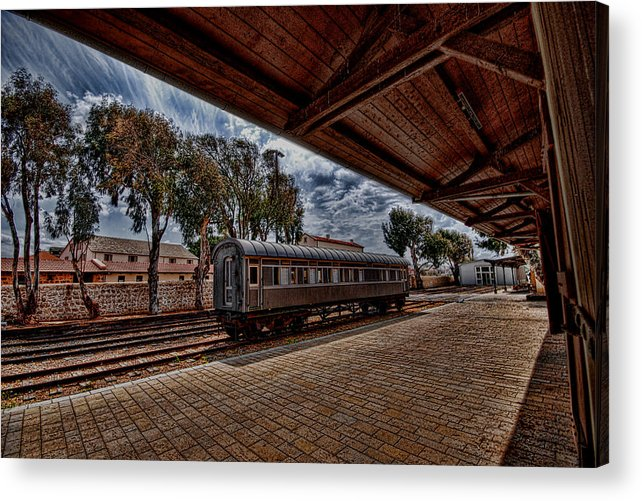 Kaballah Acrylic Print featuring the photograph platform view of the first railway station of Tel Aviv by Ron Shoshani