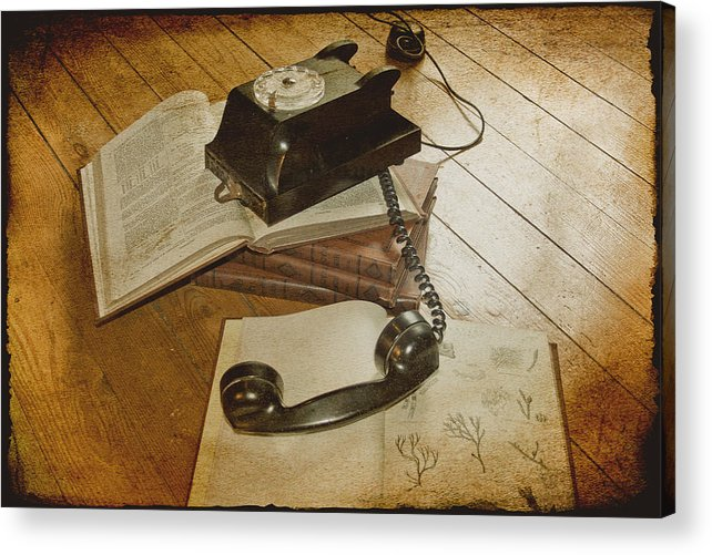 Vintage Telephone Acrylic Print featuring the photograph Please Hold by Georgia Fowler