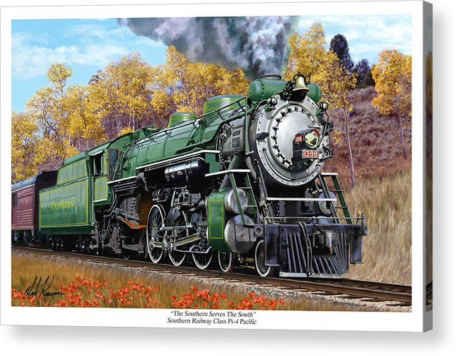 Railraod Acrylic Print featuring the painting Southern Railway Class Ps-4 Pacific by Mark Karvon