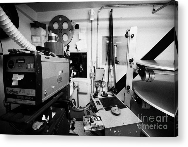 Old Acrylic Print Featuring The Photograph Super Lume X Lamphouse Film Projector And Spooling Equipment