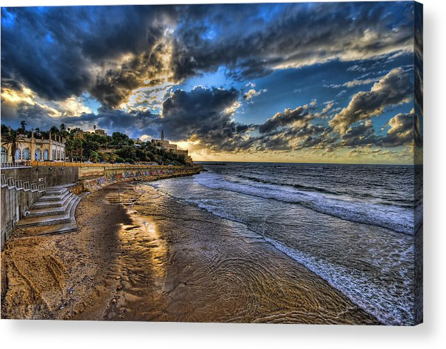 Israel Acrylic Print featuring the photograph the golden hour during sunset at Israel by Ronsho