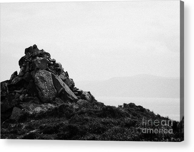 Ireland Acrylic Print featuring the photograph Traditional Irish Stone Cairn Basalt Stones On Rathlin Island Looking Towards Fair Head Antrim by Joe Fox