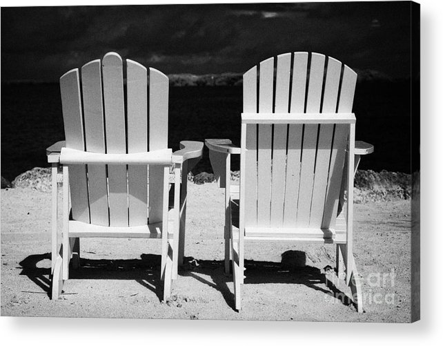 Two Acrylic Print featuring the photograph Two Empty Sun Loungers On Private Beach Islamorada Florida Keys Usa by Joe Fox