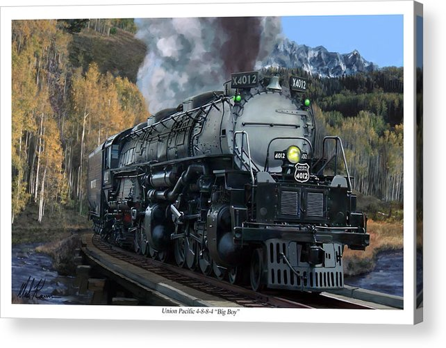 Railroad Acrylic Print featuring the painting Union Pacific 4-8-8-4 Big Boy by Mark Karvon