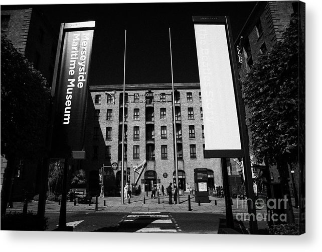 Albert Acrylic Print featuring the photograph Entrance To The Albert Dock And Beatles Museum Liverpool Merseyside England Uk by Joe Fox