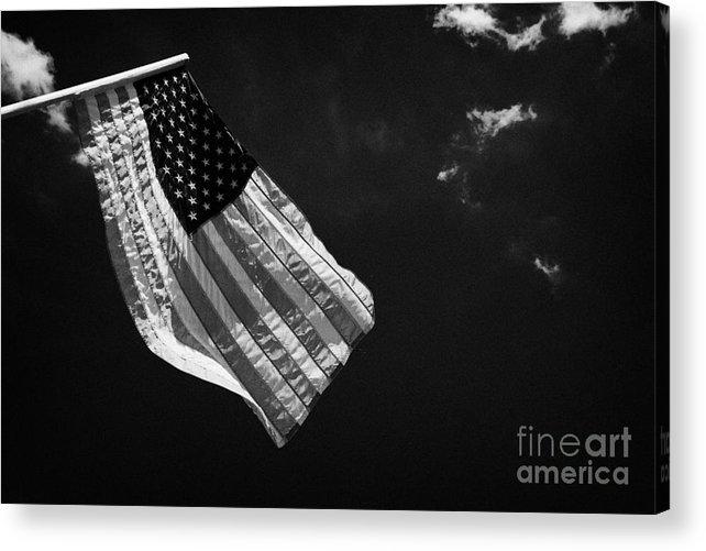 American Acrylic Print featuring the photograph Us American Flag On Flagpole Against Blue Cloudy Sky Usa by Joe Fox