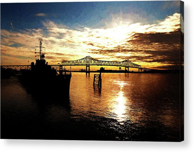 Uss Kidd Acrylic Print featuring the photograph Bright Time On The River by Scott Pellegrin
