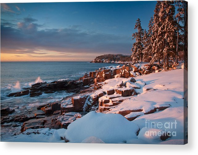 Acadia National Park Acrylic Print featuring the photograph Acadian Winter by Susan Cole Kelly