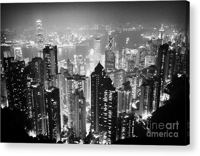 Aerial Acrylic Print featuring the photograph Aerial View Of Hong Kong Island At Night From The Peak Hksar China by Joe Fox