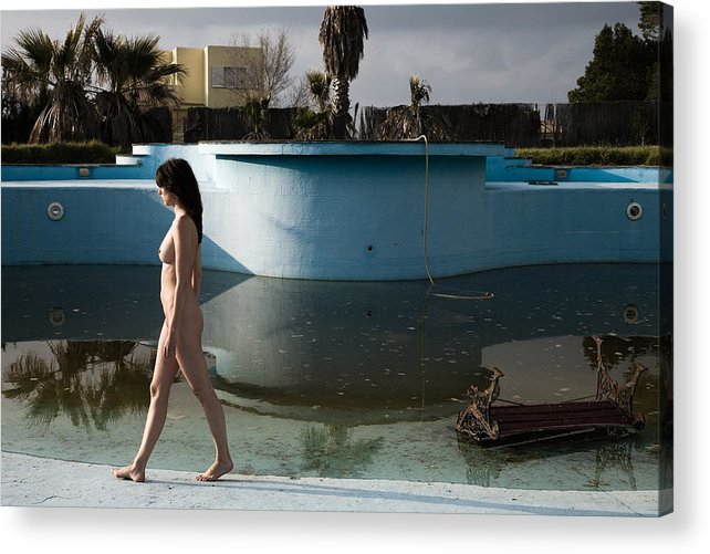 Nudes Acrylic Print featuring the photograph By The Old Pool by Olivier De Rycke