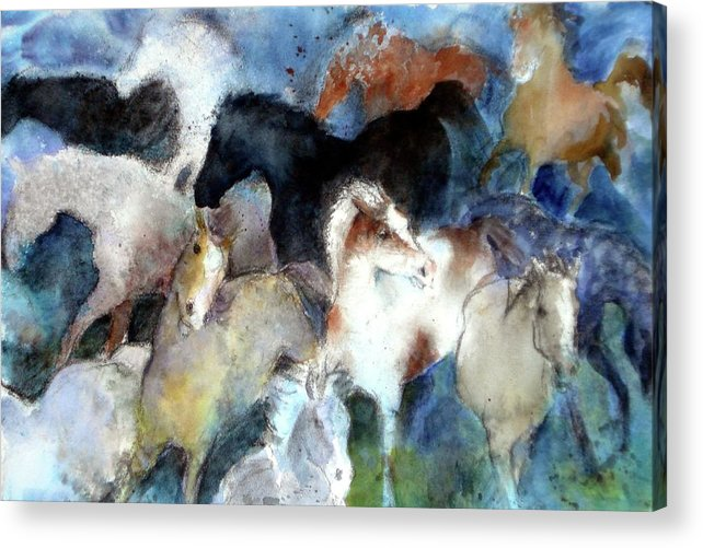 Horses Acrylic Print featuring the painting Dream Of Wild Horses by Christie Michelsen