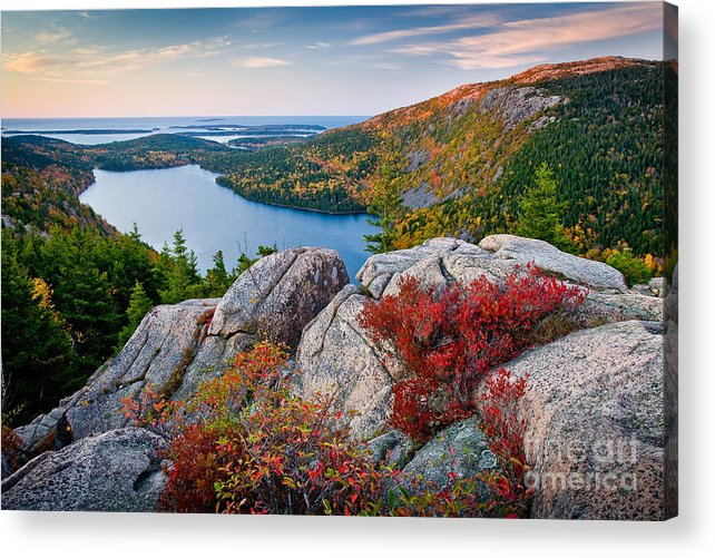 Acadia National Park Acrylic Print featuring the photograph Jordan Pond Sunrise by Susan Cole Kelly