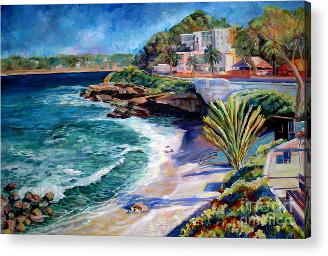 Seascape Acrylic Print featuring the painting La Jolla Cove by Nancy Isbell