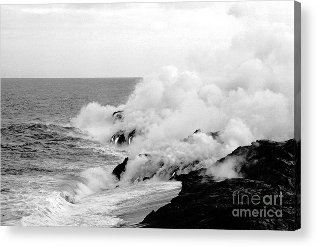 Lava Acrylic Print featuring the photograph Lava Flowing To The Sea by Susan Chandler