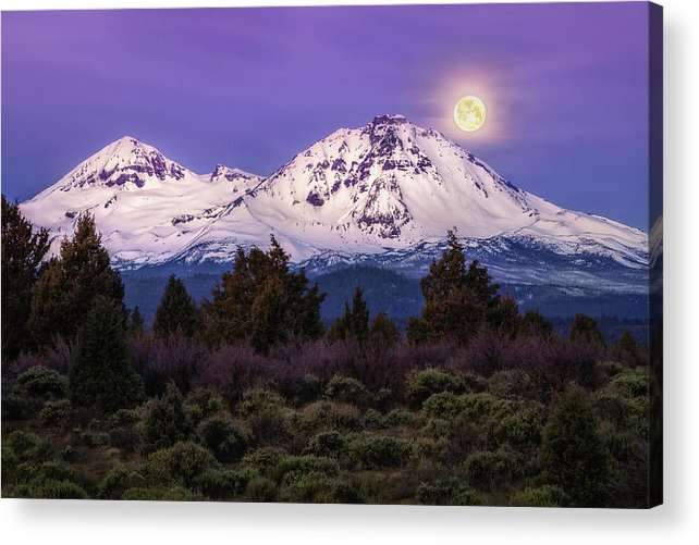 Moonset Acrylic Print featuring the photograph Moonset At Dawn by S A Littau