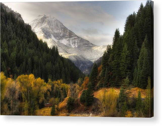 Mountain; Peak; Peaks; Mount Timpanogos Wilderness; Wasatch Mountains; Mt; Mts; Autumn; Fall; Winter Acrylic Print featuring the photograph Mount Timpanogos 2 by Douglas Pulsipher