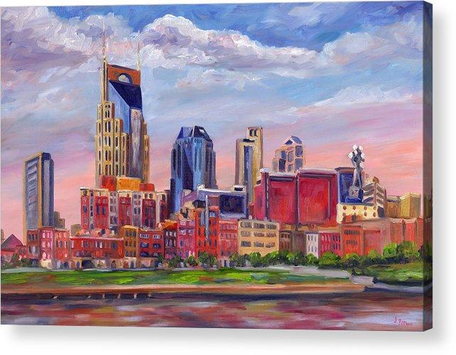 Nashville Skyline Acrylic Print featuring the painting Nashville Skyline Painting by Jeff Pittman