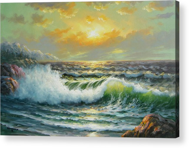 Seascape Acrylic Print featuring the painting Near Bella Coolla by Imagine Art Works Studio