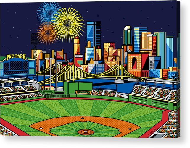 Pnc Park Acrylic Print featuring the digital art Pnc Park Fireworks by Ron Magnes