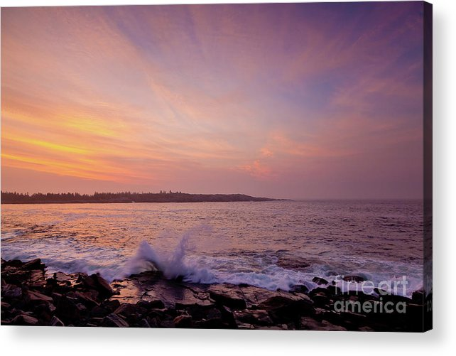 Acadia National Park Acrylic Print featuring the photograph Red Sky And Storm Waves by Susan Cole Kelly