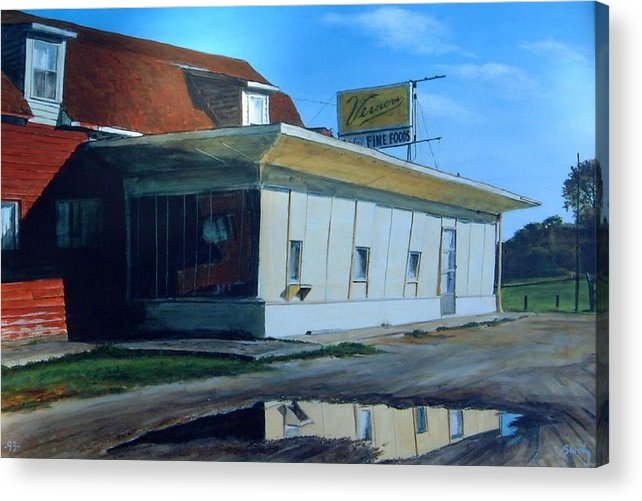 Landscape Acrylic Print featuring the painting Reflections Of A Diner by William Brody