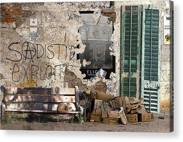 Urban Landscape Acrylic Print featuring the digital art Sadistic Exploits by Tom Romeo