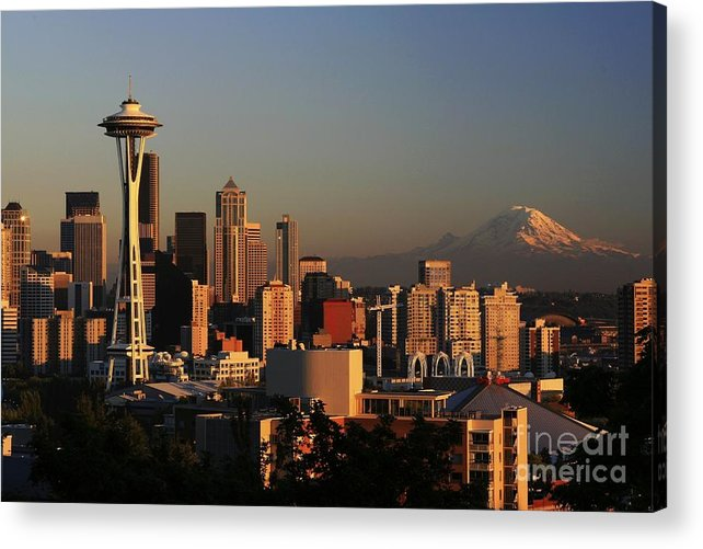 Seattle Sunset Cityscape Evening City Rainier Acrylic Print featuring the photograph Seattle Equinox by Winston Rockwell