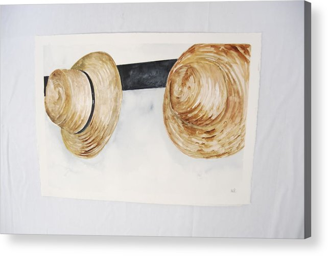 Shaker Mens' Hats On Pegs Acrylic Print featuring the painting Shaker Mens' Hats by Marti Kuehn