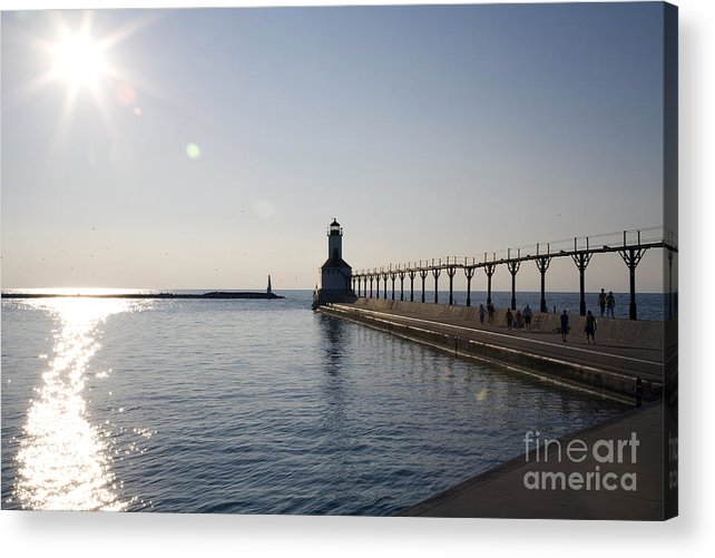 Lake Michigan Acrylic Print featuring the photograph Sunset On Lake Michigan by Jeannie Burleson
