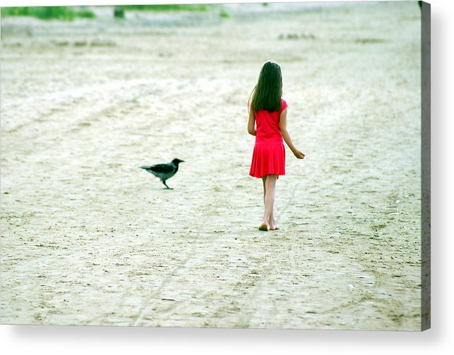 Coast Acrylic Print featuring the photograph The Girl And The Raven by Vadim Grabbe