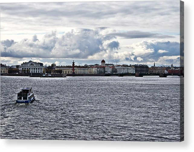 The River Acrylic Print featuring the photograph The River The Sky And Is A Little City by Vadim Grabbe