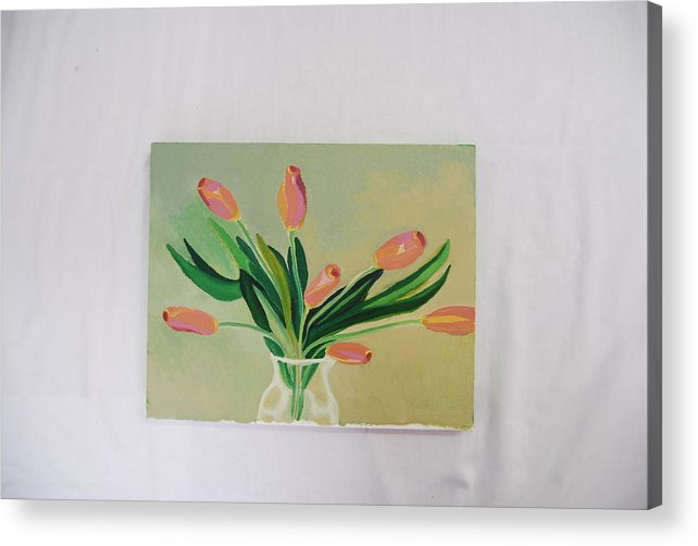 Still Life Of Dancing Tulips Acrylic Print featuring the painting Tulips Dancing by Marti Kuehn