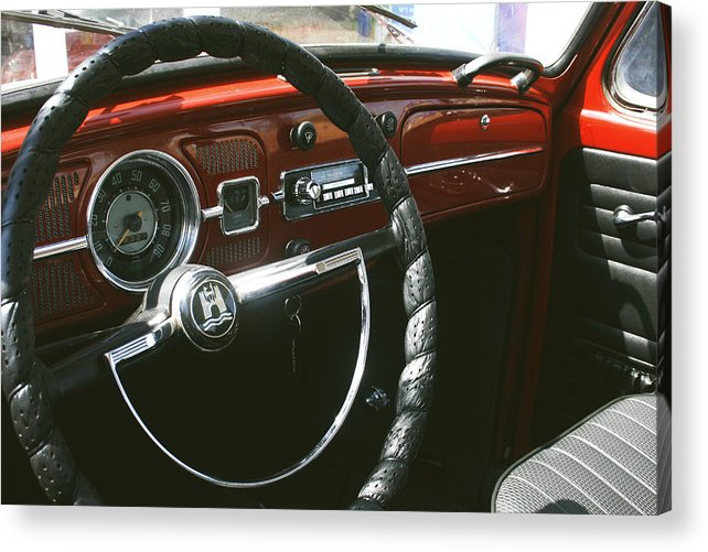 Beetle Car Interior Acrylic Print featuring the photograph Vw Beetle Interior by Georgia Fowler