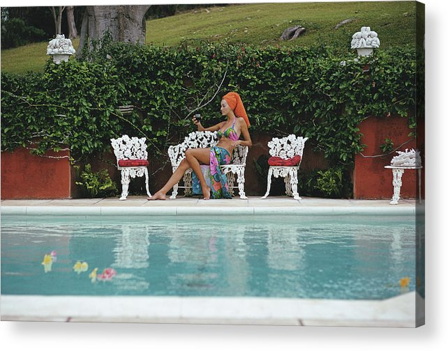 People Acrylic Print featuring the photograph Lounging In Bermuda by Slim Aarons