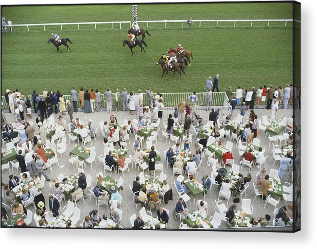 Horse Acrylic Print featuring the photograph Racing At Baden-baden by Slim Aarons