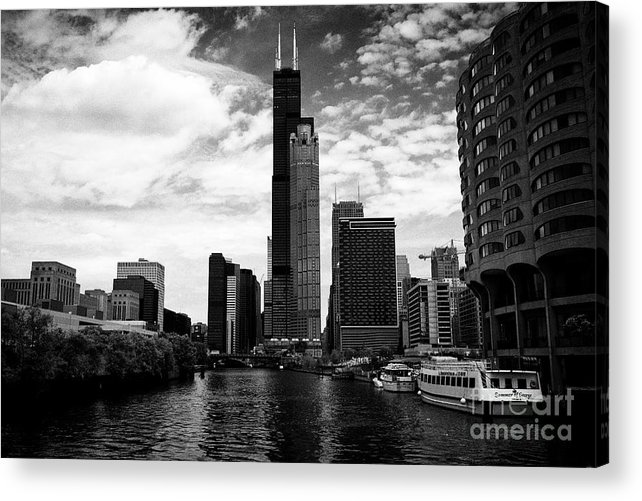 Chicago Acrylic Print featuring the photograph Chicago River And Willis Tower View From River City South Bank Chicago Illinois United States Of Ame by Joe Fox