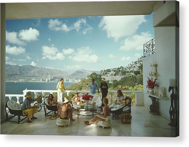 People Acrylic Print featuring the photograph Guests At Villa Nirvana by Slim Aarons