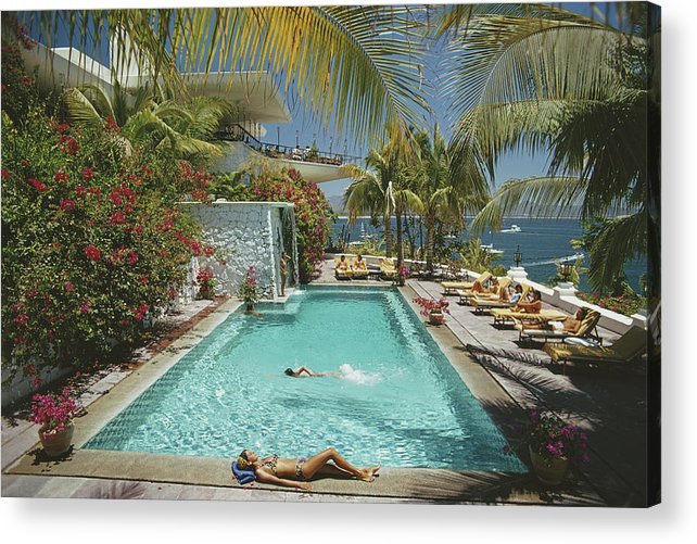 People Acrylic Print featuring the photograph Pool At Las Hadas by Slim Aarons