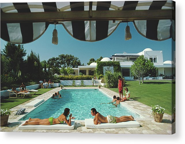 People Acrylic Print featuring the photograph Poolside In Sotogrande by Slim Aarons