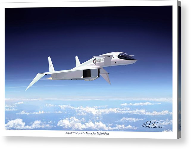 Aviation Acrylic Print featuring the painting Valkyrie - Mach 3 At 70000 Feet by Mark Karvon