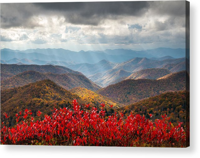 Autumn Acrylic Print featuring the photograph Blue Ridge Parkway Fall Foliage - The Light by Dave Allen