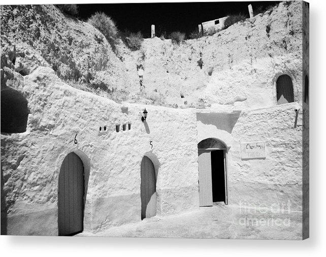 Tunisia Acrylic Print featuring the photograph hotel room cave accomodation Sidi Driss Hotel underground at Matmata Tunisia scene of Star Wars films by Joe Fox