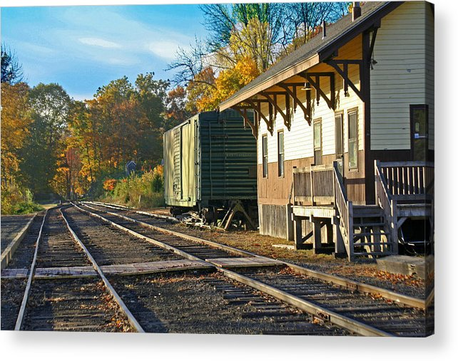 Trains Acrylic Print featuring the photograph At The Station by Gerald Mitchell