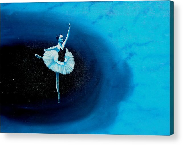 Oil Painting. Ballerina. Ballerina Dancing. Universal Balance. Surreal Impressionism Acrylic Print featuring the painting Balance by Ivan Rijhoff